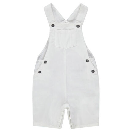 Short overalls in plain-colored cotton with pockets
