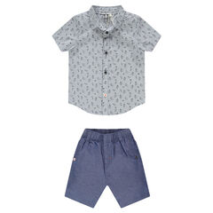Ensemble with short-sleeved shirt and chambray pants