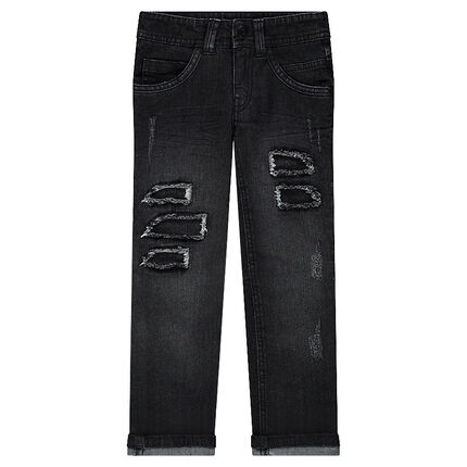 Junior - Distressed slim fit jeans with decorative worn details