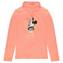 Thin turtleneck sweater with printed polka dots and Disney Minnie Mouse print