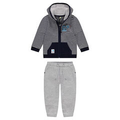 Fleece sweatsuit with a striped jacket and heather gray pants
