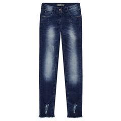 Junior - Jeans effet used et crinkle à strass