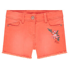 Used-effect shorts with embroidered flowers and fringed finish