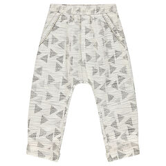 Jacquard sarouel pants with graphic print