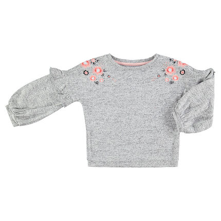 Twisted fleece sweater with embroidered flowers on the shoulders