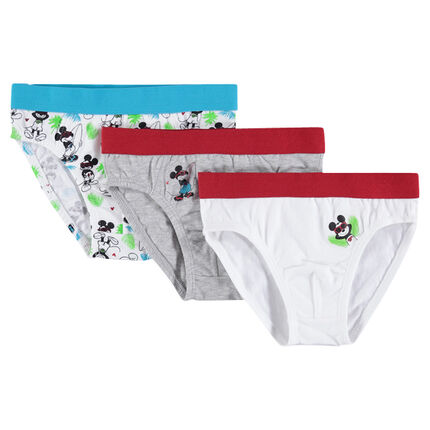 Set of 3 pairs of cotton briefs with Mickey print