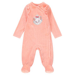 Footed sleeper in textured velvet with ©Disney Aristocats Marie patch