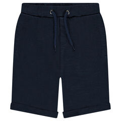 Fleece bermuda shorts with an elastic waistband