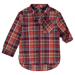 Long-sleeved checkered shirt with zippered opening