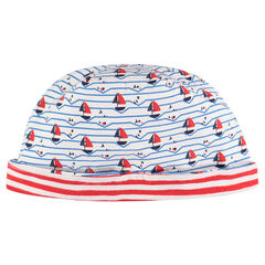 Jersey cap with boat motif and allover stripes