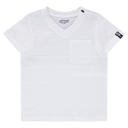 Short-sleeved, slub tee-shirt with printed pocket