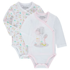 Set of 2 jersey bodysuits with floral pattern