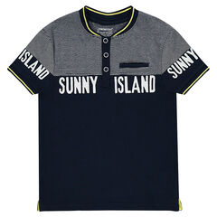 Junior - Short-sleeved polo shirt with placed stripes and printed messages