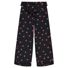 Junior - Fluid viscose voile pants with polka dots and allover hearts