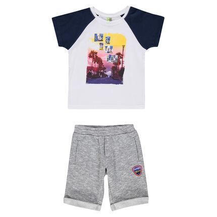 Beach ensemble with landscape print tee-shirt and fleece bermuda shorts