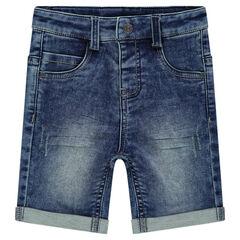 Distressed denim-effect fleece bermuda shorts