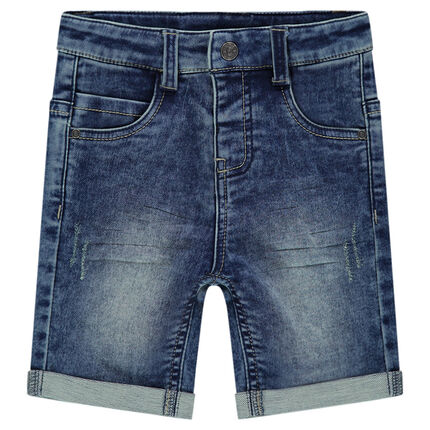 Distressed denim-effect fleece bermuda shorts