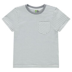 All-over striped short-sleeved t-shirt with pocket