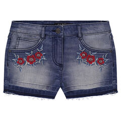 Junior - Used-effect denim shorts with embroidered flowers