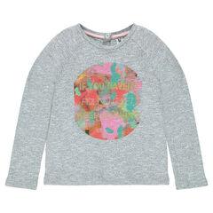 Heathered fleece sweatshirt with print