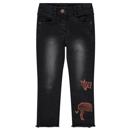 Used-effect skinny fit jeans with embroidered zebra