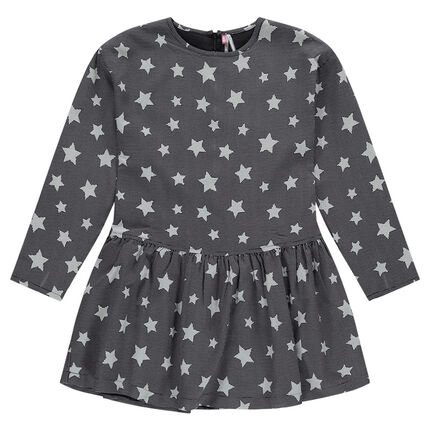 Junior Long Sleeved Dress With Allover Stars Orchestra Us