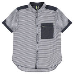 Junior - Shirt with small checks all over and chambray details