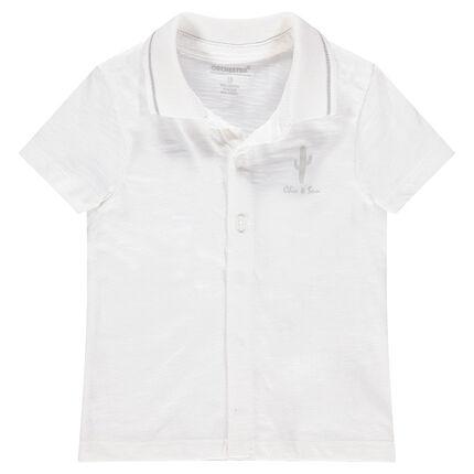 Short-sleeved slub jersey polo shirt with a cactus print