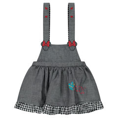 Strapped chambray dress with Minnie Mouse embroidery