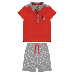 Ensemble with a jersey polo shirt and fleece bermuda shorts with an allover print
