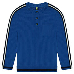 Junior - Ribbed sweater with contrasting stripes on the sleeves