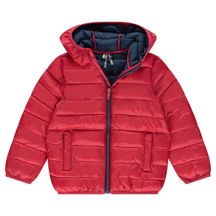 Quilted and padded jacket with hood