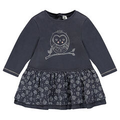Long-sleeved frilled dress with owl print