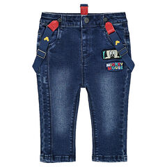 Used-effect jeans with removable suspenders and colorful messages
