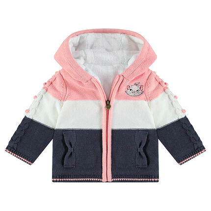 Sherpa-lined hooded knit jacket with an embroidered ©Disney Marie from the Aristocats