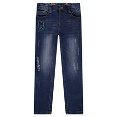 Disney Mickey Mouse used and crinkled-effect jeans