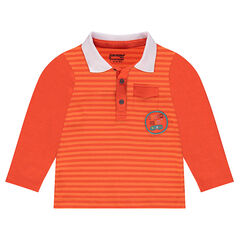 Long-sleeved striped polo shirt with a badge patch and embroidered message