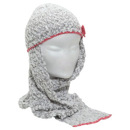 Pop-corn effect knit scarf hat with contrasting bow