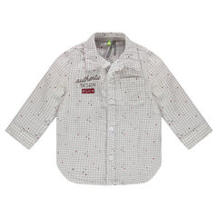 Shirt with small checks and embroidery