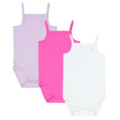 Set of 3 plain-colored bodysuits with straps