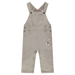 Long overalls with badge patches
