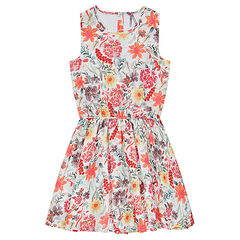 Junior - Knit dress with flowers printed all over