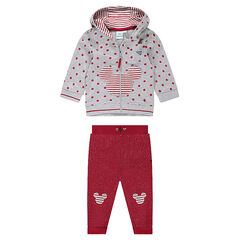 Fleece jogging set with polka dot jacket and shiny thread pants