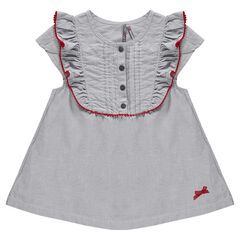 Short-sleeved tunic with frills and bow