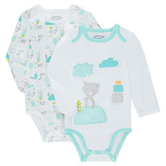 Set of 2 long-sleeved cotton bodysuits with printed teddy bears