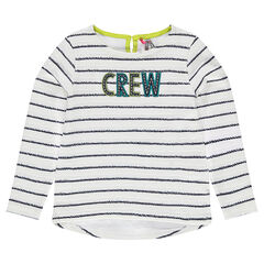 Striped fleece sweatshirt with an embroidered message