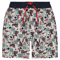 Swim trunks with a decorative allover print
