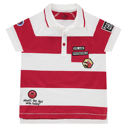 Short-sleeved polo shirt with contrasting stripes and ©Disney The Incredibles badge patches