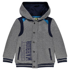 Fleece hoodie with mesh yokes