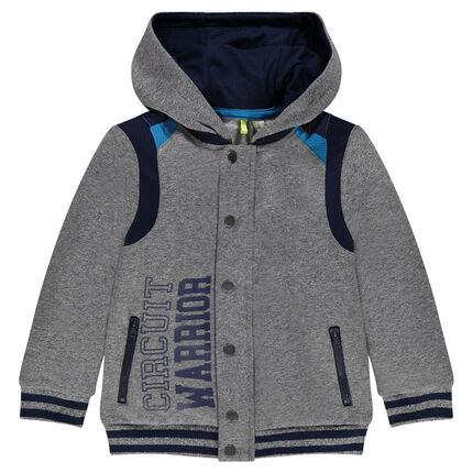 Fleece hoodie with mesh yokes